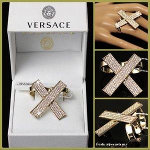 Versace GOLD & DIAMOND crystal ring $695 *NEW*